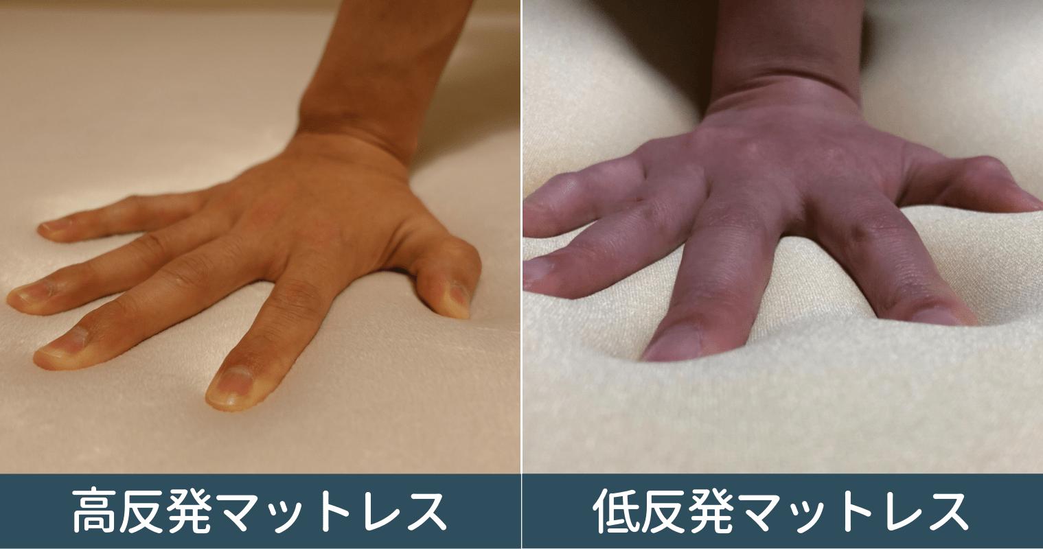 高反発と低反発マットレスの凹み具合